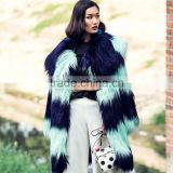 New Design Winter Contrast Color Long Hair Goat Fur Coat with Big Turnover Collar for Ladies