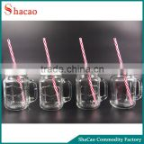 Set Of 4Pcs Drinking Mugs Glass Mason Jars With Lids And Straws