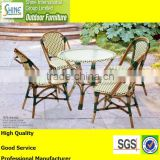 Outdoor furniture french bamboo bistro chair and table garden dining set