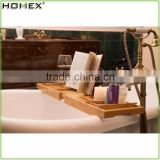 Bamboo Bathtub Caddy Bathroom Bath Tray with Extensible Sides/Homex_FSC/BSCI Factory