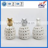 Traditional White and Gold Ceramic Pineapple Votive LED Light Candle Holder Mat Finish