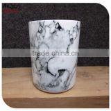 marble decal pillar shaped ceramic candle jar