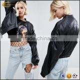 2017 New Winter fashionable Smooth faux fabric Ruched long sleeve 100% Polyester ladies black oversized motorcycle jacket