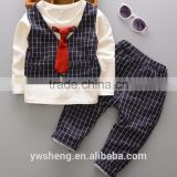 long sleeve spring and fall boutique sets baby boy plaid outfits