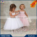 2015 Sleeveless Organza Flower Infant Girls Party Dresses In Summer White & Pink Fashion Cute Baby Girls Dresses