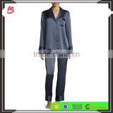 Highest quality ladies elegant night sleeping shirts and pants wear stain long sleeves pajamas set wholesale