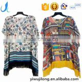 Hot sale ladies' fashion floral printed kimono with tassel viscose cotton soft blouses