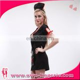 Sexy Nurse Costume wholesale cheap sexy women black uniform hot sex latex nurse costume with hat
