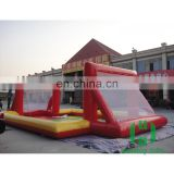 HI customized 0.6mm PVC double door inflatable toy beach volleyball sport court with the omentum