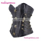 Floral Steel Bone Sexy Lingerie Gothic Fashion Corset Steampunk with Chain