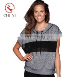 OEM custom fashionable short sleeve hooded pullover women breathable fitness gym sport wear hoodies with mesh insert