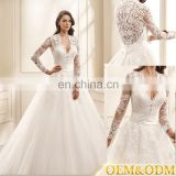 New style custom made elegant white V neckline simple long sleeve bride wedding dress