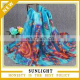 Fashionable custom printed cheap stock wholesale voile scarf
