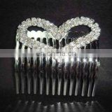 fashion rhinestone heart bridal hair comb
