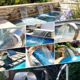 swimming pool spa pool stainless steel waterfall faucet with light