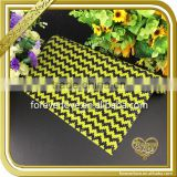 Yellow wave strip epoxy resin crystal sheets hot glue 24x40cm rhinestone mesh FHRM-077                                                                                                         Supplier's Choice