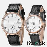 Men Women Couple Lover Crystal Elegant Brown Leather Quartz Pair Wrist Watch