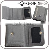 guangzhou factory cowhide leather hand pouch short wallet triple wallet for ladies