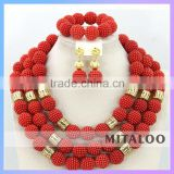 Mitaloo Beautiful Red Coral Bead Jewelry Set Wholesale Heavy Beaded Necklace And Earring Sets MT0001