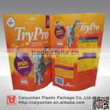 OEM design plastic package bag for cat litter, stand up cat litter plastic package zipper bag