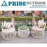 Round Shaped Outdoor Leisure White Soft PE Rattan Material Bali Synthetic Rattan Furniture