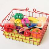 Kids baby wood iron basket cutting fruit and vegitable toy