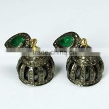 Excellent Jhumka Emerald & Diamond 925 Sterling Silver Earring, Indian Fashion Jewelry Supplier, Handmade Silver Jewelry