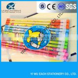 2014promotional plastice mantle cartoon lovely pattern wooden HB pencil with color eraser logo available