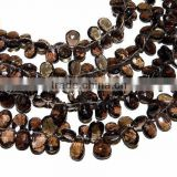 100% Natural Smoky Quartz Faceted Pear Shape Beads SIZE 9x7mm-12x8mm Approx 8''Inch