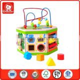 6 sides different kid goge 7 in 1 activity cube educational toys plastic shapes accessories solid wood cube wooden activity cube
