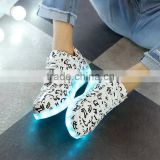 Colorful High Quality 2016 Casual Women & Men Led lights Luminous USB Charging shoes