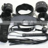 Black Bondage restraint Set Kit Rope Ball Cuffs Whip Collar Blindfold Adult Sexy Toy HK129
