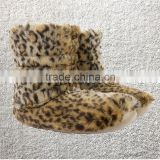 New Ladies Cosy Winter Soft Furry Slippers Boots Leopard printing short plush indoor boots