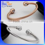 Hotsale Raw Brass Twist Cable Wire Terminal Magnetic Cuff Bangle Copper Magnetic Bracelet Wholesale