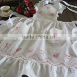 Beautiful Red Teapots Embroidery Ruffles Full Length Bib Apron