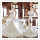 wedding dress DM-037 Vintage lace high neck wedding dresses high collar lace wedding gown bridal dress 2016