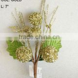 "2014 Popular Artificial Christmas Gold Flower Pick 7"" Artificial Fruit Ball Flower With Berries"