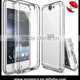 Samco Crystal Clear PC Back TPU Bumper Drop Protective/Shock Absorption Attached Dust Cap Cell Phone Case for HTC One A9