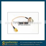 rf coaxial connectors cable assembly jumper cable Pigtail cable SMA male to BNC female bulkhead RG316/RG174 for wi