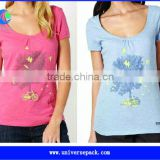slub/bamboo t shirt with custom screen printing for wholesale
