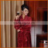 Promotion Burgundy Brushed Coral Fleece Bathrobe Set