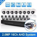 16 Channel 1080P Hybrid AHD DVR 16CH Surveillance Security KIT With 16PCS 2MP Bullet AHD Camera,IR 10M,Metal Housing,Waterproof