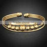 18K Gold Vacuum Plated Woman Cuff Bracelet with Beads Copper Wire Bangle