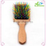 Ionic Type and Bristle Brush wooden Material Rainbow Volume Wave hair brush for long hair                                                                                                         Supplier's Choice