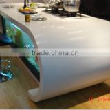 L-shape slotting style pure white acrylic solid surface wine bar counter design
