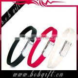1 inch silicone wristband fashional and adjustable design magnetic with metal