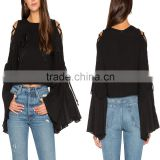 Plus size chiffon lace up flare long sleeve black embroidered cropped woman blouse