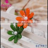 Plastic clear bobby pins with flower and pearl decoration