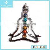 Fashion Antique Stainless Steel Natural Crystal Agate Setting Human Shape Pendant Jewellery