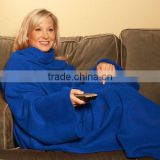 Solid Color Adult Snuggle Fleece Blanket Cozy Wrap Warm Throw Travel Plush Fabric With Sleeves As Seen On TV- Blue